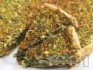 Рецепта Киш с плънка от гъби, спанак, яйца, сирене, пресен лук и сметана